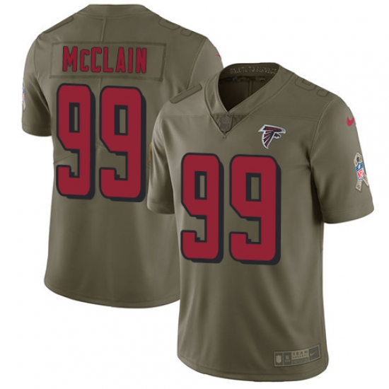 Men's Nike Atlanta Falcons #99 Terrell McClain Limited Olive 2017 Salute to Service NFL Jersey