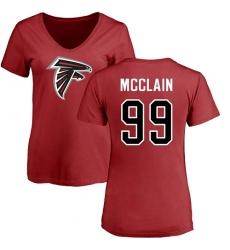 NFL Women's Nike Atlanta Falcons #99 Terrell McClain Red Name & Number Logo T-Shirt