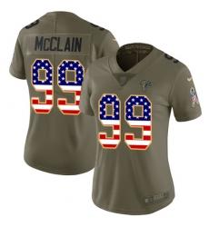 Women Nike Atlanta Falcons #99 Terrell McClain Limited Olive USA Flag 2017 Salute to Service NFL Jersey