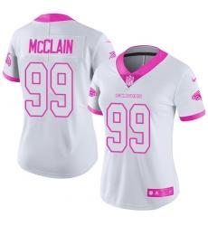Women Nike Atlanta Falcons #99 Terrell McClain Limited White Pink Rush Fashion NFL Jersey