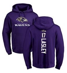 NFL Nike Baltimore Ravens #17 Jordan Lasley Purple Backer Pullover Hoodie