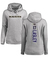 NFL Women's Nike Baltimore Ravens #17 Jordan Lasley Ash Backer Pullover Hoodie
