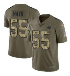 Men's Nike Carolina Panthers #55 David Mayo Limited Olive Camo 2017 Salute to Service NFL Jersey