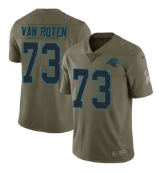 Men's Nike Carolina Panthers #73 Greg Van Roten Limited Olive 2017 Salute to Service NFL Jersey