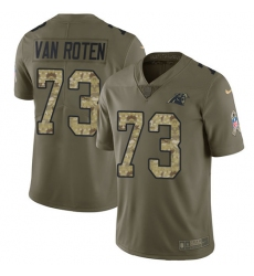 Men's Nike Carolina Panthers #73 Greg Van Roten Limited Olive Camo 2017 Salute to Service NFL Jersey