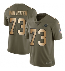 Men's Nike Carolina Panthers #73 Greg Van Roten Limited Olive Gold 2017 Salute to Service NFL Jersey