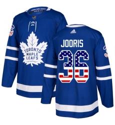 Men's Adidas Toronto Maple Leafs #36 Josh Jooris Authentic Royal Blue USA Flag Fashion NHL Jersey