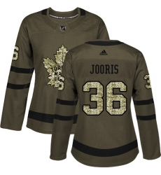 Women's Adidas Toronto Maple Leafs #36 Josh Jooris Authentic Green Salute to Service NHL Jersey