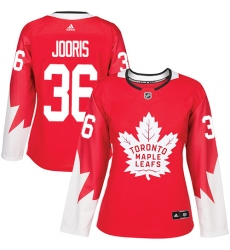 Women's Adidas Toronto Maple Leafs #36 Josh Jooris Authentic Red Alternate NHL Jersey