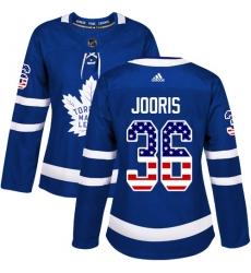 Women's Adidas Toronto Maple Leafs #36 Josh Jooris Authentic Royal Blue USA Flag Fashion NHL Jersey