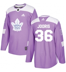 Youth Adidas Toronto Maple Leafs #36 Josh Jooris Authentic Purple Fights Cancer Practice NHL Jersey