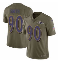 Men's Nike Baltimore Ravens #90 Za Darius Smith Limited Olive 2017 Salute to Service NFL Jersey