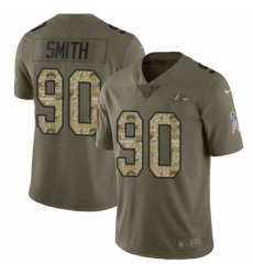 Men's Nike Baltimore Ravens #90 Za Darius Smith Limited Olive Camo Salute to Service NFL Jersey