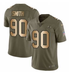 Men's Nike Baltimore Ravens #90 Za Darius Smith Limited Olive Gold Salute to Service NFL Jersey