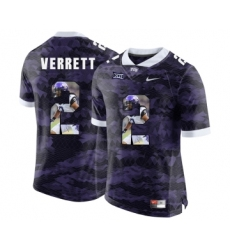 TCU Horned Frogs 2 Jason Verrett Purple With Portrait Print College Football Limited Jersey