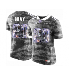TCU Horned Frogs 20 Deante Gray Gray With Portrait Print College Football Limited Jersey