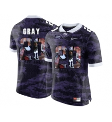 TCU Horned Frogs 20 Deante Gray Purple College With Portrait Print Football Limited Jersey