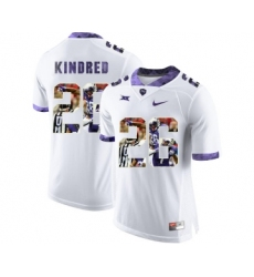 TCU Horned Frogs 26 Derrick Kindred White With Portrait Print College Football Limited Jersey