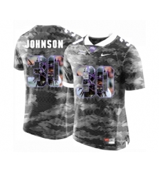 TCU Horned Frogs 30 Denzel Johnson Gray With Portrait Print College Football Limited Jersey