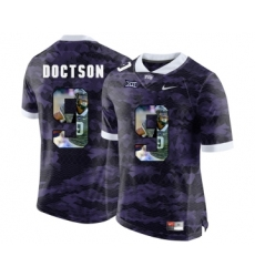 TCU Horned Frogs 9 Josh Doctson Purple With Portrait Print College Football Limited Jersey