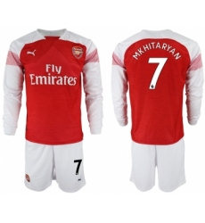 2018-19 Arsenal 7 MKHITARYAN Home Long Sleeve Soccer Jersey
