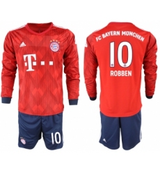 2018-19 Bayern Munich 10 ROBBEN Home Long Sleeve Soccer Jersey