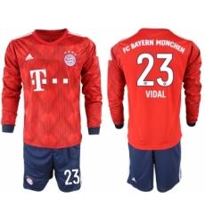 2018-19 Bayern Munich 23 VIDAL Home Long Sleeve Soccer Jersey