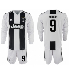 2018-19 Juventus 9 HIGUAIN Home Long Sleeve Soccer Jersey