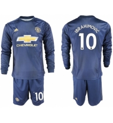2018-19 Manchester United 10 IBRAHIMOVIC Away Long Sleeve Soccer Jersey