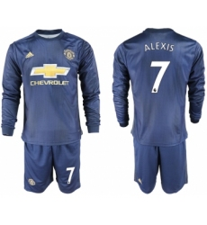 2018-19 Manchester United 7 ALEXIS Away Long Sleeve Soccer Jersey