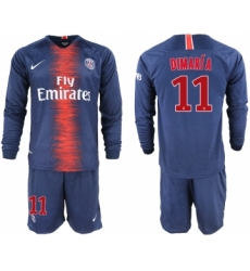 2018-19 Paris Saint-Germain 11 DIMARIA Home Long Sleeve Soccer Jersey