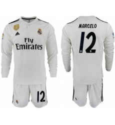 2018-19 Real Madrid 12 MAECELO Home Long Sleeve Soccer Jersey