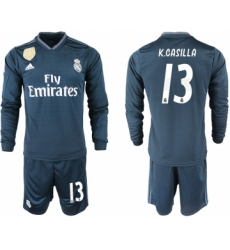 2018-19 Real Madrid 13 K.CASILLA Away Long Sleeve Soccer Jersey