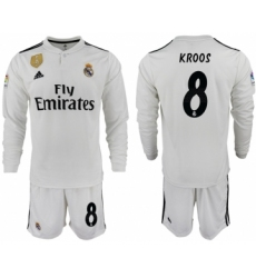2018-19 Real Madrid 8 KROOS Home Long Sleeve Soccer Jersey