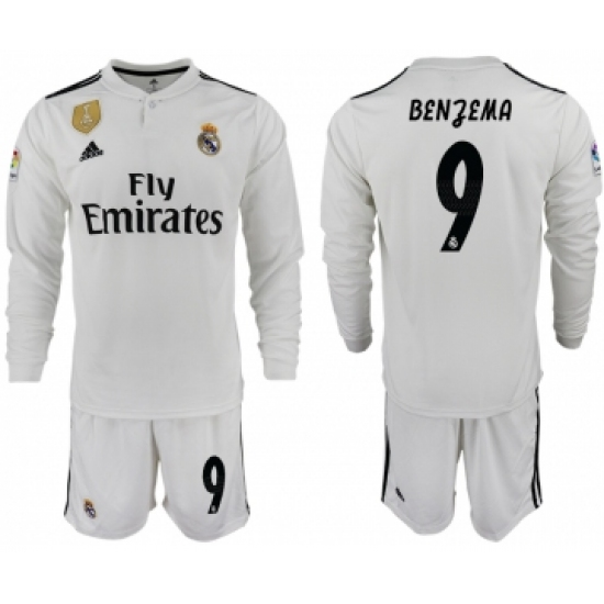 2018-19 Real Madrid 9 BENZEMA Home Long Sleeve Soccer Jersey