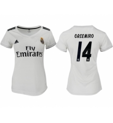 2018-19 Real Madrid 14 CASEMIRO Home Women Soccer Jersey