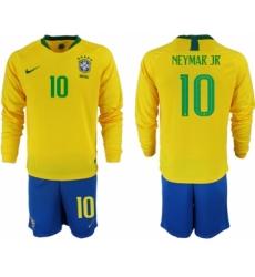 2018-19 Brazil 10 NEYMAR JR Home Long Sleeve Soccer Jersey