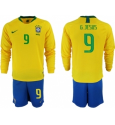 2018-19 Brazil 9 G. JESUS Home Long Sleeve Soccer Jersey