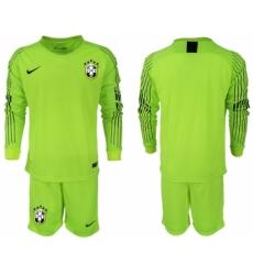 2018-19 Brazil Fluorescent Green Goalkeeper Long Sleeve Soccer Jersey