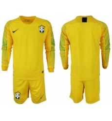 2018-19 Brazil Home Goalkeeper Long Sleeve Soccer Jersey