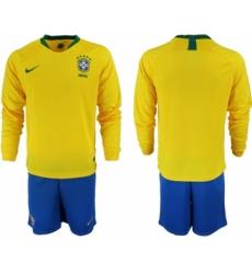 2018-19 Brazil Home Long Sleeve Soccer Jersey