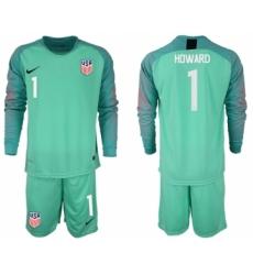 2018-19 USA 1 HOWARD Green Goalkeeper Long Sleeve Soccer Jersey