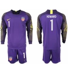 2018-19 USA 1 HOWARD Purple Goalkeeper Long Sleeve Soccer Jersey