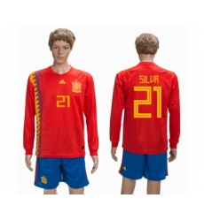 Spain 21 SILVA Home 2018 FIFA World Cup Long Sleeve Soccer Jersey