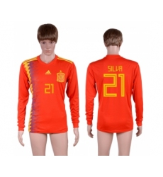 Spain 21 SILVA Home 2018 FIFA World Cup Long Sleeve Thailand Soccer Jersey