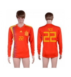 Spain 22 ISCO Home 2018 FIFA World Cup Long Sleeve Thailand Soccer Jersey