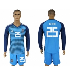 Spain 25 REINA Lake Blue Goalkeeper 2018 FIFA World Cup Long Sleeve Soccer Jersey