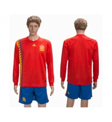 Spain Home 2018 FIFA World Cup Long Sleeve Soccer Jersey
