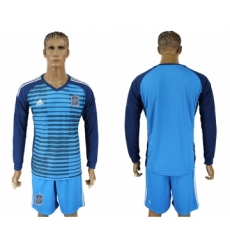 Spain Lake Blue Goalkeeper 2018 FIFA World Cup Long Sleeve Soccer Jersey
