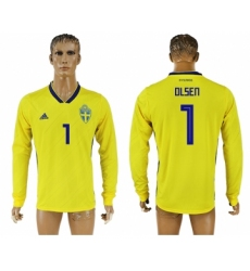 Sweden 1 OLSEN Home 2018 FIFA World Cup Long Sleeve Thailand Soccer Jersey